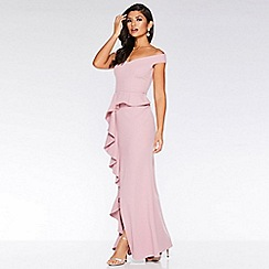 Quiz - Mauve Bardot Peplum Frill Maxi Dress