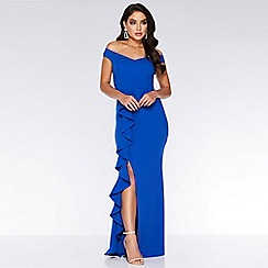Quiz - Royal Blue Bardot Peplum Frill Maxi Dress