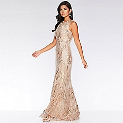 Quiz - Champagne Sequin Embellished Maxi Dress
