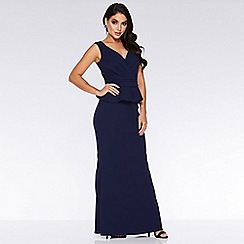Quiz - Navy Bardot Wrap Peplum Maxi Dress