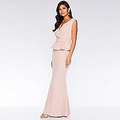 Quiz - Nude Bardot Wrap Peplum Maxi Dress