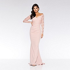 Quiz - Nude bardot lace fishtail maxi dress