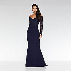 Quiz - Navy Bardot Lace Fishtail Maxi Dress
