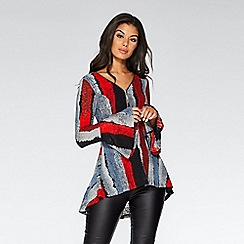 Quiz - Red black and grey stripe peplum top
