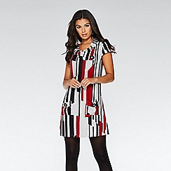 Quiz - Red black and grey cap sleeve tunic dress