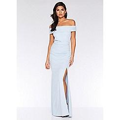 Quiz - Light blue bardot split maxi dress