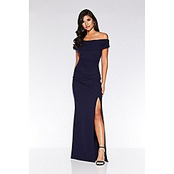 Quiz - Navy Bardot Split Maxi Dress