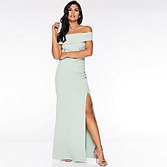 Quiz - Green Bardot Ruched Split Maxi Dress