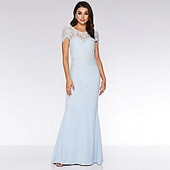 Quiz - Light Blue Lace Embellished Fishtail Maxi Dress