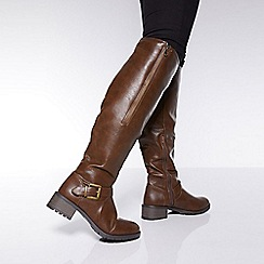 Quiz - Brown buckle knee high boots