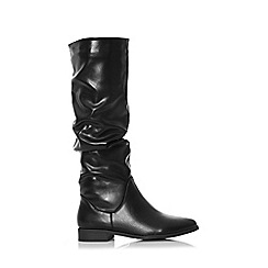 Quiz - Black ruched flat calf boots