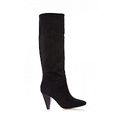 Quiz - Black faux suede ruched knee high boots