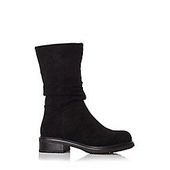 Quiz - Black faux suede flat calf boots