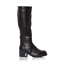 Quiz - Black chunky heel knee high boots