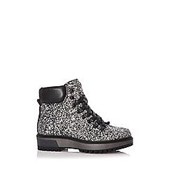 Quiz - Black glitter hiker ankle boots