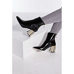 Quiz - Black patent gold heel ankle boots