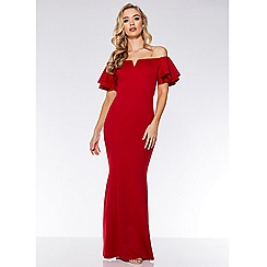 Quiz - Red frill sleeve fishtail maxi dress
