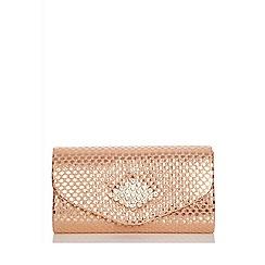 Quiz Gold Shimmer Brooch Clutch Bag