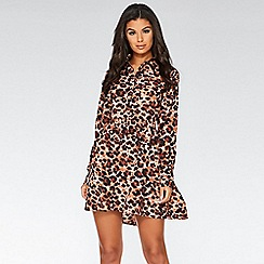 Quiz - Brown and black leopard print swing dress