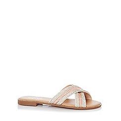 448418d92 Wide Fit. Quiz - Pink Lace Diamante Flat Sandals