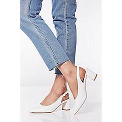 Quiz - White Slingback Low Heel Court Shoes