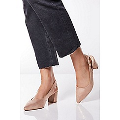 Quiz - Camel Shimmer Slingback Low Heel Shoes