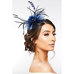 Quiz - Navy Jewel Feather Headband Fascinator