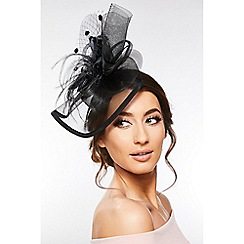 Quiz - Black Large Flower Polkadot Headband Fascinator fffb61a6e1f
