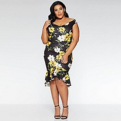 Quiz - Curve black and yellow bardot fishtail midi dress