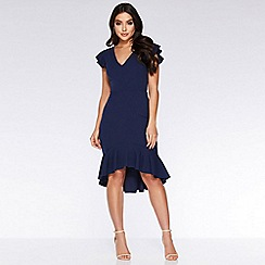 Quiz - Navy frill sleeve dip hem dress