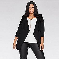 Quiz - Curve black 3/4 sleeve waterfall jacket
