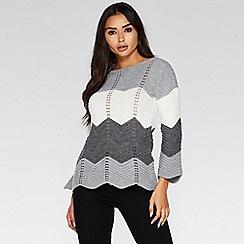 Quiz - Light grey chevron long sleeve jumper