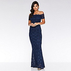 Quiz - Navy sequin bardot maxi dress