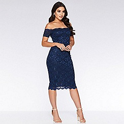 Quiz - Navy sequin lace scallop midi dress
