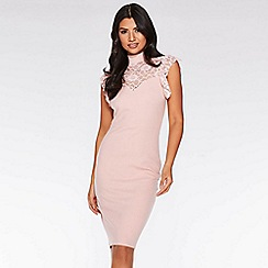 Quiz - Dusky pink high neck midi dress