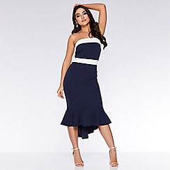 Quiz - Navy and cream bandeau fishtail midi dress