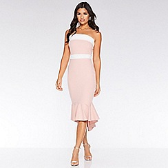 Quiz - Pink and cream bandeau fishtail midi dress