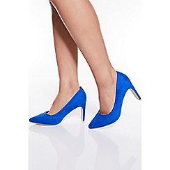 Quiz - Royal Blue Faux Suede Point Court Shoes