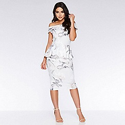 Quiz - Grey And Pink Floral Bardot Midi Dress