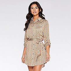 Quiz - Stone and cream geometric print shirt dress