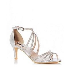 Quiz - Silver Shimmer Diamante Low Heel Sandals