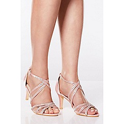 Quiz - Pink Diamante Low Heel Sandals