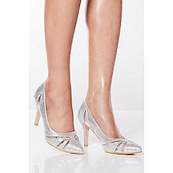 Quiz - Silver Diamante Mesh Court Shoes
