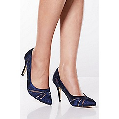 Quiz - Navy Shimmer Mesh Diamante Court Shoes