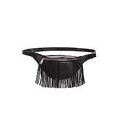 Quiz - Black faux leather tassel bum bag