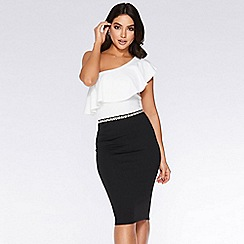 Quiz - Black and white one shoulder dress