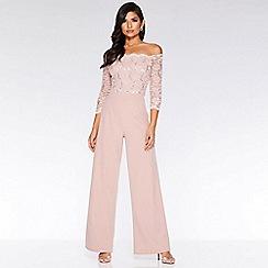 Quiz - Dusky Pink Lace Sequin Scallop Jumpsuit