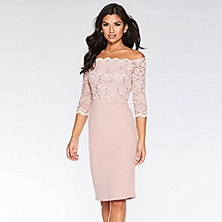 Quiz - Dusky Pink Scallop Midi Dress