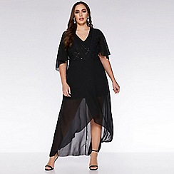 Quiz - Curve black chiffon sequin midi dress