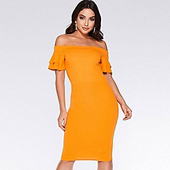 Quiz - Mustard bardot frill midi dress